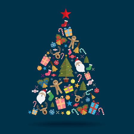 Kerstboom decoratie pictogram vector Vector Illustratie