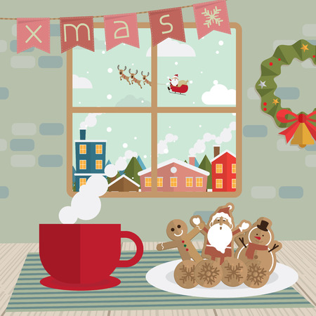 break in: Christmas coffee break and cookies in room window vector Illustration