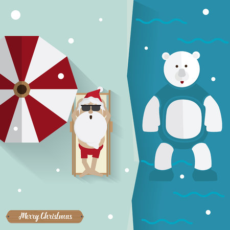 santa claus sunbathe with white bear relax Outdoors in winter vector