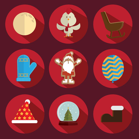 christmas icon: Christmas icon vector red background Illustration