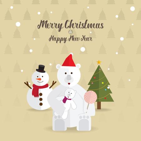 white bear: Christmas white bear and christmas tree happy new year vector