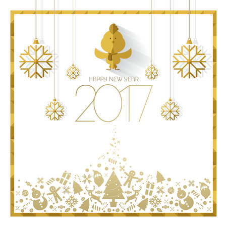 Happy new year 2017 card white gold vector Imagens - 65942042
