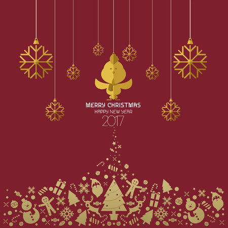 Christmas and Happy new year 2017 card red gold vector Illustration
