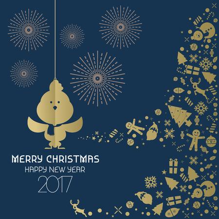 dark blue background: Happy new year 2017 card background dark blue gold vector