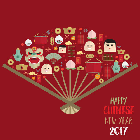 Happy chinese new year 2017 icons set form Chinese fan vector Illustration