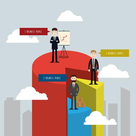 business three people chart vector illustration