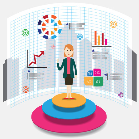 sales manager: Businesswoman chart graph infographic vector illustration
