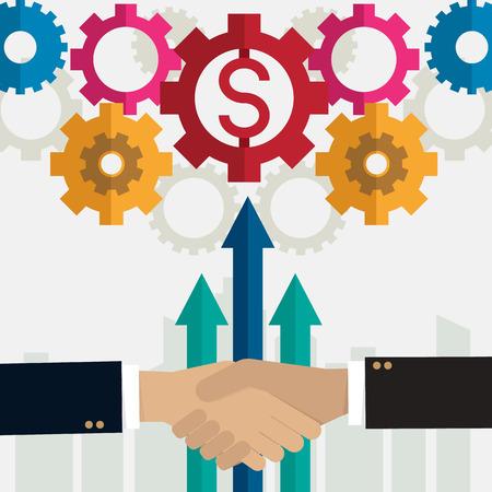 gear Partnership handshake business vector illustration