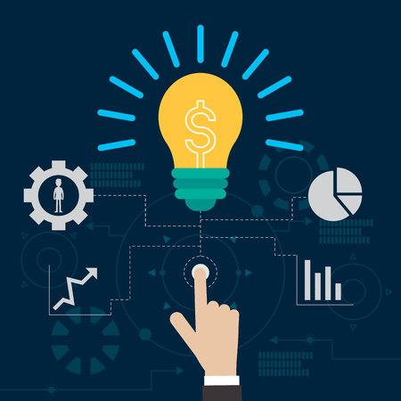 prodigy: lamp idea business technology vector illustration