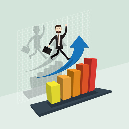 sales manager: Business success blue arrow growth it isometric vector illustration