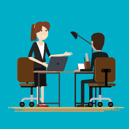Business two people talking partners, Vector illustration Imagens - 74430413