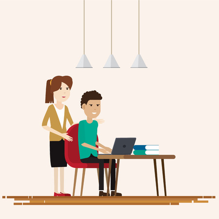 Creative people working co working office,Vector illustration