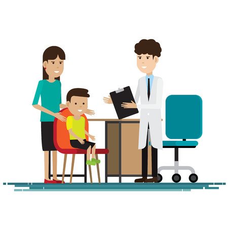 Medical staff with mother and kid in room. Vector illustration