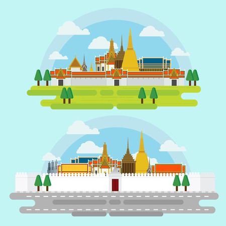 Travel around in bangkok Landmarks architecture design illustration vector.