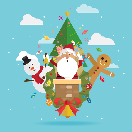 Christmas santa claus and snowman vector