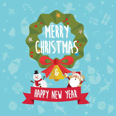 Christmas and Happy new year card icon vector