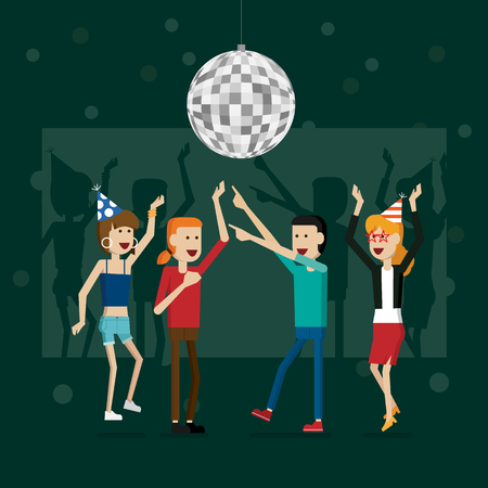 Party happy new year people and celebrating holidays vector illustration