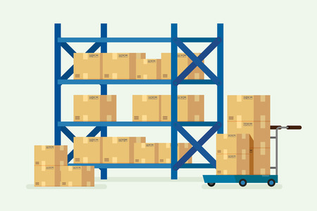 Warehouse shelves and cardboard boxes. illustration vector