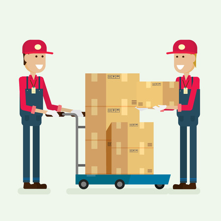Delivery Service worker cargo box in warehouse. illustration vector