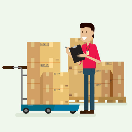 Character warehouse worker checking goods. illustration vector  イラスト・ベクター素材