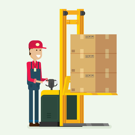 Worker pushing a fork pallet truck stacker with boxes on pallet. illustration vector