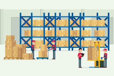 Transportation warehouse and logistic with workers cargo box illustration vector