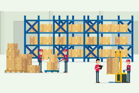 entrepôt de transport et logistique avec des travailleurs chargement boîte illustration vectorielle Vecteurs
