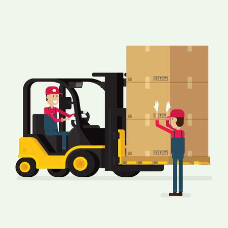 フォーク リフト、人間の労働者やボックス、宅配便を提供するパッケージです。イラスト  イラスト・ベクター素材