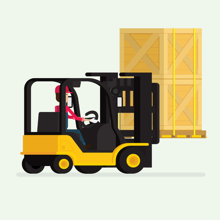 Forklift truck with human worker and Boxes, Courier Delivering Packages. illustration vector
