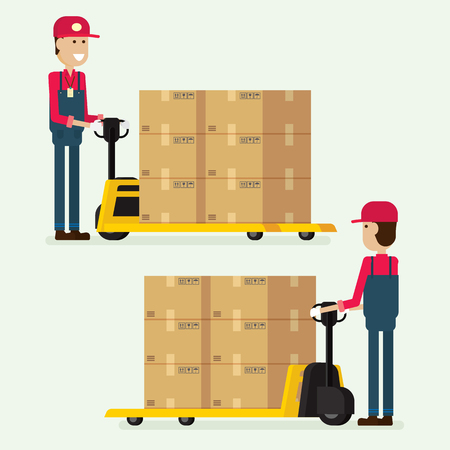 Worker man towing hand fork lifter cargo box in warehouse. illustration vector  イラスト・ベクター素材