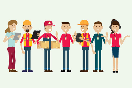 Group warehouse worker and employee characters. illustration vector  イラスト・ベクター素材