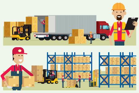 運輸倉庫物流労働者労働者貨物ボックス イラストで商品をチェック