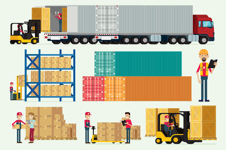 Almacén logístico con vector de ilustración de caja de carga de camiones y montacargas de trabajadores de almacenamiento