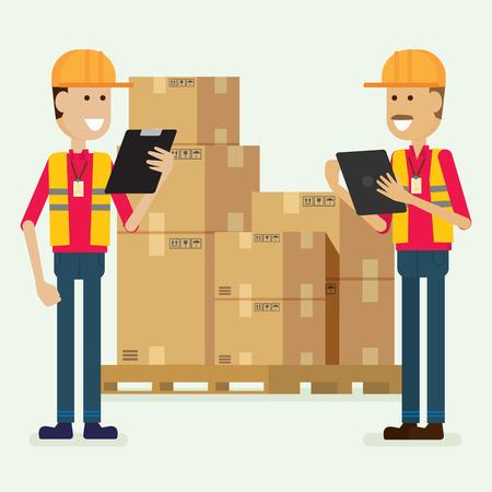 Karakter magazijnmedewerker goederen controleren. illustratie vector