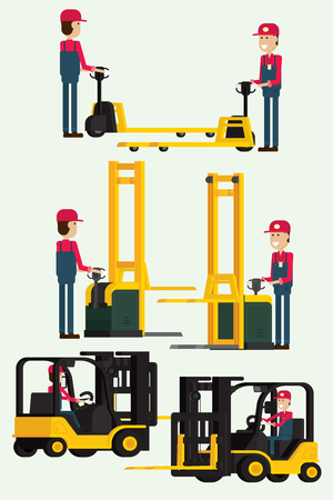 Forklift truck with human worker and worker man towing hand fork lifter. illustration vector
