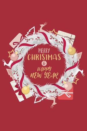 Christmas Wreath and happy new year with ribbons red. Decorated of pine branches in background red. Vector