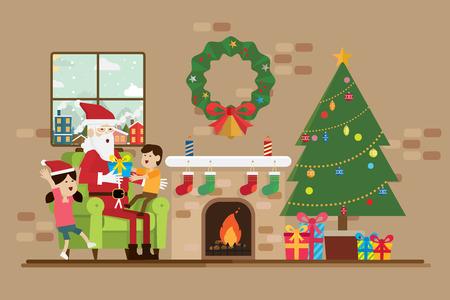 Santa está sentada com uma criança no dia de Natal no vetor sala de lareira. Foto de archivo - 90873785
