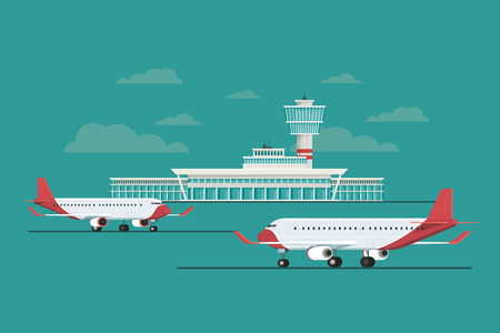 Plane at Airport arrivals and departures travel sky and clound background bule, Vector Illustration Illustration