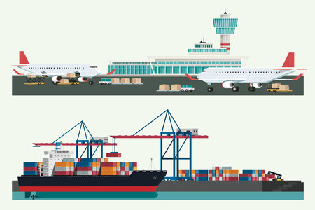 Cargo logistics transportation, container ship and cargo plane with working crane import export transport industry and forklift truck. illustration vector