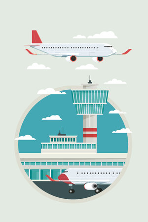 Plane at Airport arrivals and departures travel sky and clound background bule, Vector Illustration Иллюстрация