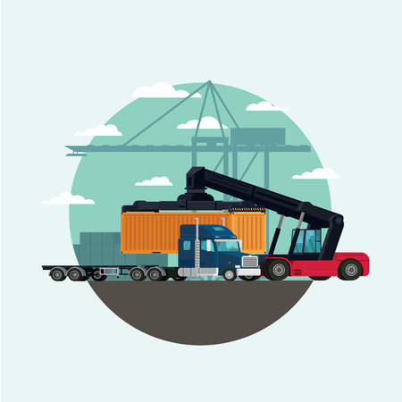 Cargo logistics truck and transportation container with forklift truck lifting cargo container in shipping yard. illustration vector