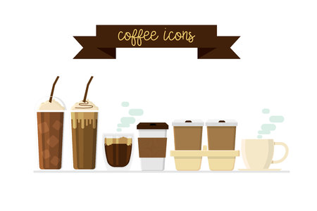 Coffee cup drink icons set vector illustration Vectores