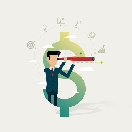 Businessman in dollar and icon set business searching for opportunities concepts. Vector illustration