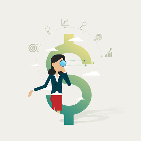Businesswoman in dollar and icon set business searching through magnifying glass for opportunities concepts. Vector illustration Stock Illustratie