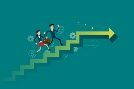 Business people run on up the stairs path to goal. Illustration