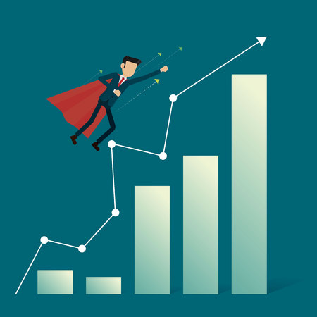 Businessman hero flying fast path to goal. vector illustration