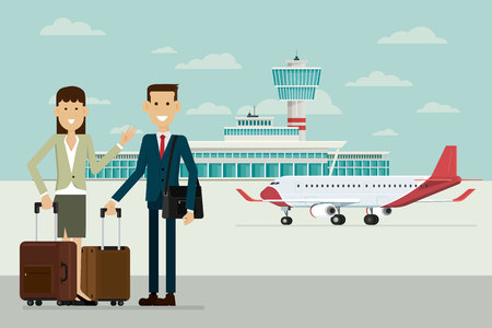 Plane at Airport arrivals and business people man and women with suitcases, Vector Illustration. Illustration