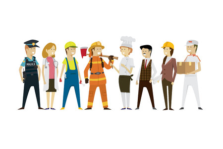 Group men and women people professions a diverse collection flat style isolated background. illustration vector