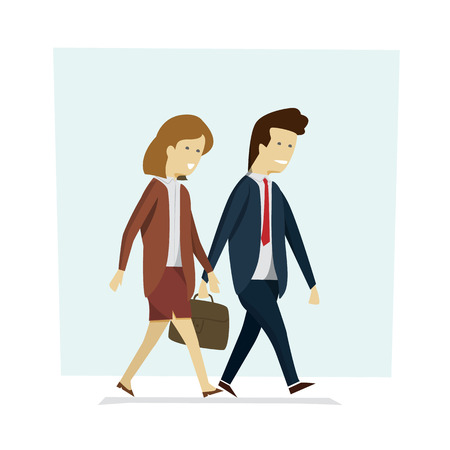 Business people man and woman walking to work. Vector illustration cartoon character. Ilustração