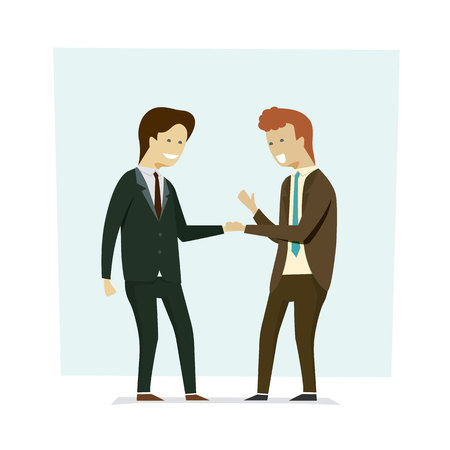 Business people shaking hands partners. Vector illustration cartoon character.